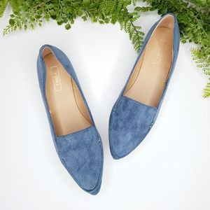 Yoki urban 349 blue suede pointed toe flats